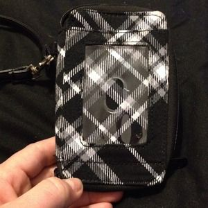 Thirty-one clutch/wallet-black and white plaid