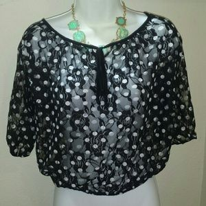 Tops - 📌SOLD📌in Bundle...Black/white polka dot lace top