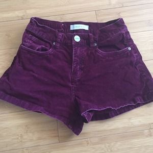Maroon Corduroy High Waisted Shorts from UO