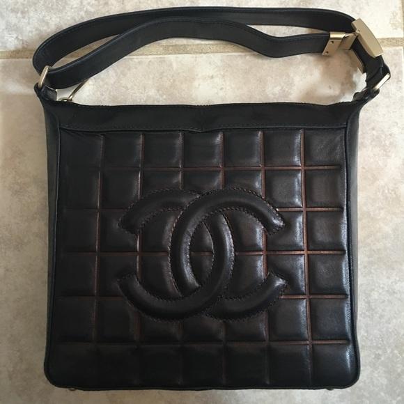 ee41056832b430 CHANEL Handbags - CHANEL Black Chocolate Bar Square Bag Purse
