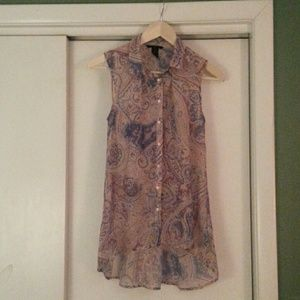 H&M sleeveless paisley blouse