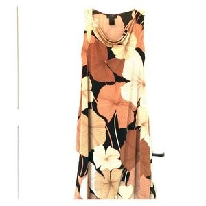BCBG dress- floral with draped neck-flattering!