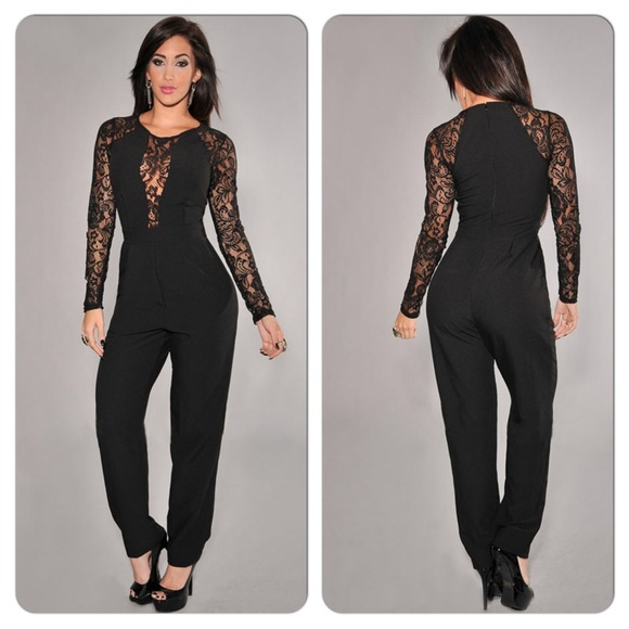 coupon code super cute get new Sexy Black Lace Long Sleeve Jumpsuit Romper