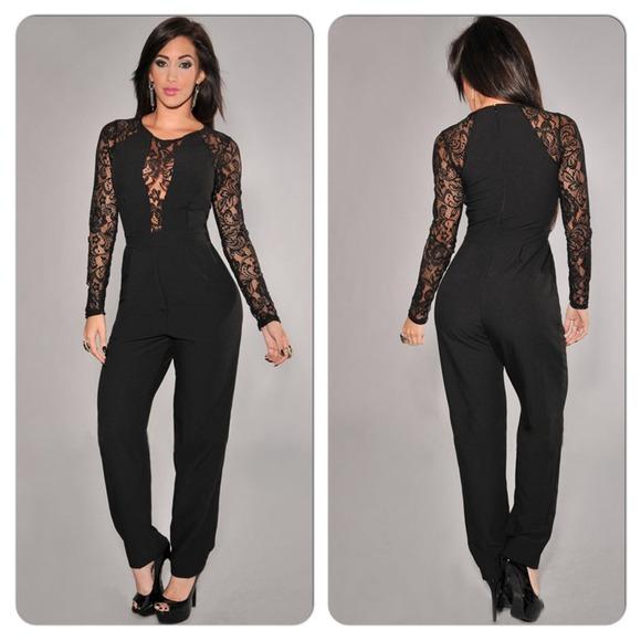37b6478780 Sexy Black Lace Long Sleeve Jumpsuit Romper