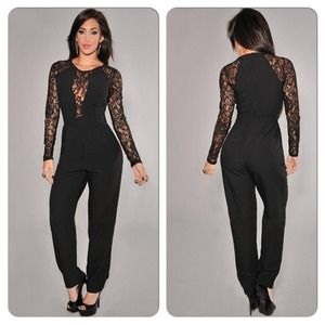 Pants Sexy Black Lace Long Sleeve Jumpsuit Romper Poshmark