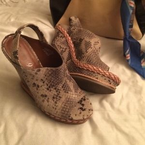  Boutique9 Snake print Leather open toe wedges.