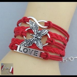Red butterfly Love Leather Bracelet