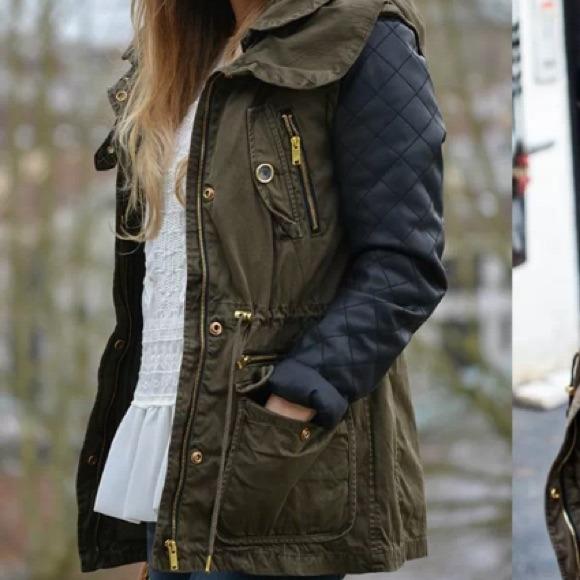 Parka Coat With Leather Sleeves - Coat Nj
