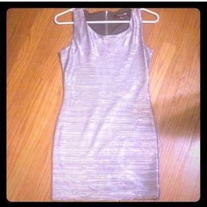 Metallic silver bodycon dress