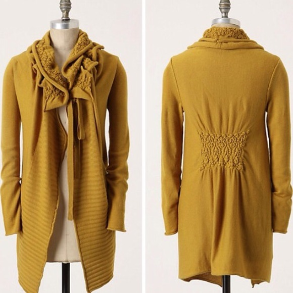 85% off Anthropologie Sweaters - ANTHROPOLOGIE Moth Mustard Yellow ...