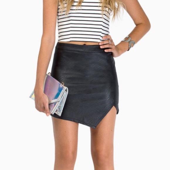 Asymmetrical Leather Skirt - Skirts