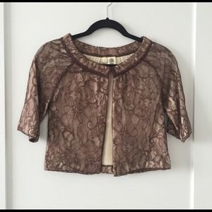 Anthropologie MOTH Lace Cropped Jacket XS