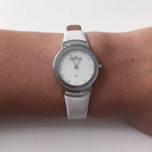 Skagen Jewelry - White leather Skagen watch