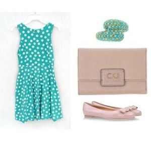 HPPolka dot Sheath mint dress keyhole back