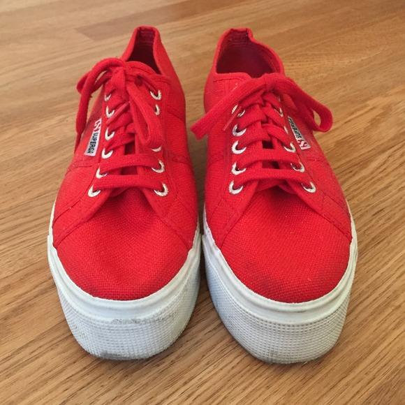 Platform Superga Red Shoes   Poshmark