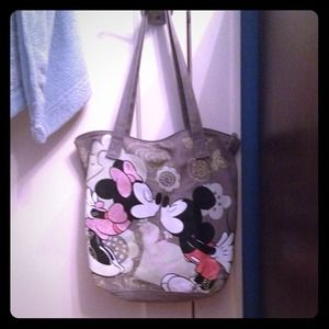 Minnie and Mickey grey tote
