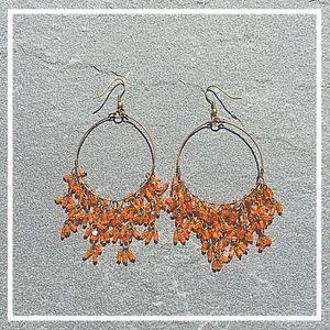 Gold w orange beads hoop earrings