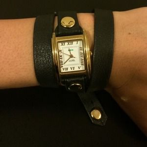 La Mer black leather wrap watch