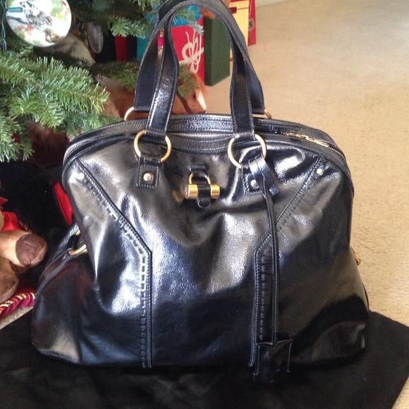 ysl black leather handbag muse