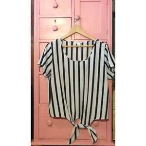 Black and White Vertically Striped Shirt