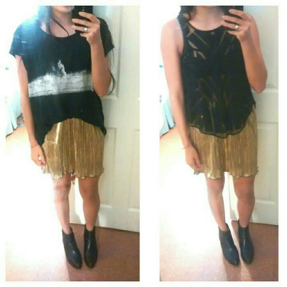 forever 21 pleated gold lame skirt from jess s closet on