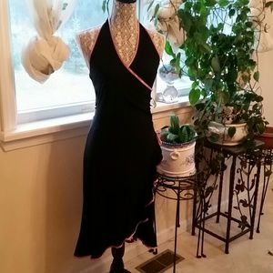 Black halter dress with light pink trimmings
