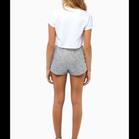 25% off Tobi Pants - Silver sequins high waist shorts from ...