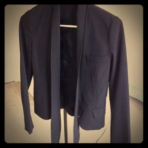New black pin stripped blazer tie front
