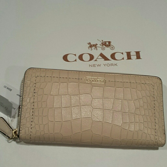 9757098bd Coach Bags   New Croc Embossed Accordion Zip Large Wallet   Poshmark