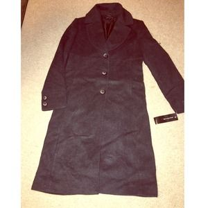 NEW Jones New York Charcoal Long Coat.