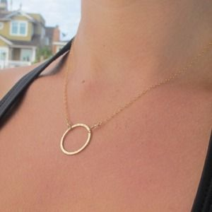 Jewelry - 14k gold plated Eternity circle necklace