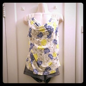 Rayon blend floral print tank with lace