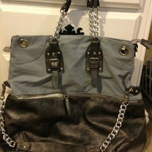 Boutique silver and gray satchel