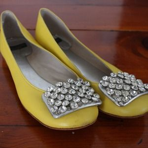 ✨KATE SPADE✨ Yellow Leather Crystal Ballet Flats