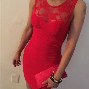Dresses - Red Lace Bondage Dress!