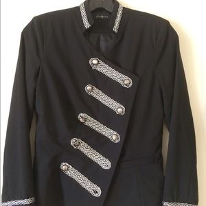 Black army look jacket with silver trim.