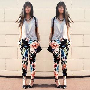 Floral H&M trouser pants