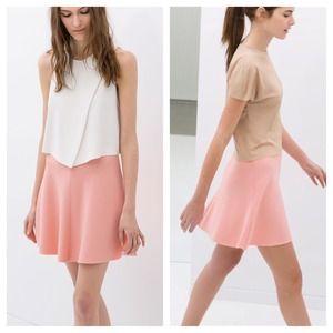 Zara pink flared mini skirt NWT