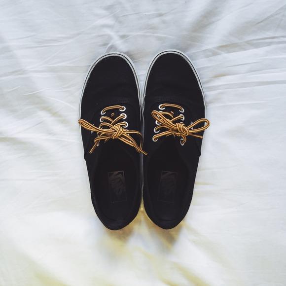 9304e9f85064 Vans Shoes - Black vans with yellow brown shoelaces