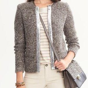 Banana Republic Jackets & Blazers - Banana Republic Grey glitter warm jacket size XS