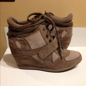 Brown Wedge Sneakers