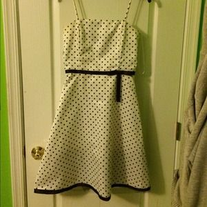 A. Byer Dresses & Skirts - White and brown polka dot dress