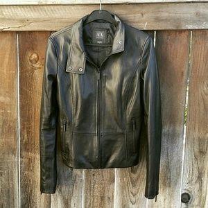 {armani exchange} Leather Moto Jacket