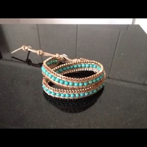 Wrap bracelet faux leather turquoise