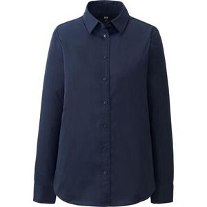 UNIQLO Tops - [Uniqlo]navy broadcloth long sleeve shirt