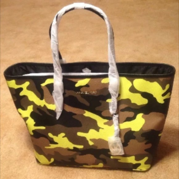 75be585fbf701e Michael Kors Bags | Camo Acid Lemon Md Travel Tote | Poshmark