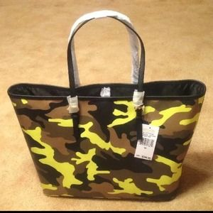 5afa7f72f18be1 Michael Kors Bags - Michael Kors Camo Acid Lemon Md Travel Tote