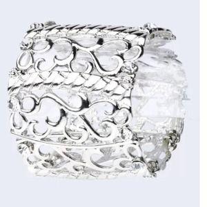Custom Jewelry - D14 Silver Scroll Filigree Stretch Bangle Bracelet