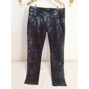 Silver Jeans Denim - Floral Metallic Silver Skinny Jeans