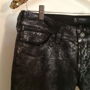 Silver Jeans Jeans - Floral Metallic Silver Skinny Jeans